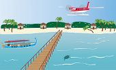 picture of dhoni  - A Floatplane landing at an Island in the Maldives with a Dhoni boatbungalows and a Jetty - JPG
