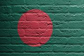 picture of bangladesh  - Brick wall with a painting of a flag isolated Bangladesh - JPG