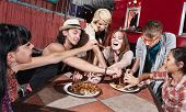 stock photo of canteen  - Group of happy people eating out at mobile restaurant - JPG
