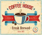 stock photo of brew  - Vintage Coffee House card - JPG
