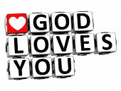 image of god  - 3D God Loves You Button Click Here Block Text over white background - JPG