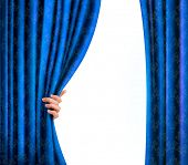 Background with blue velvet curtain and hand. Background with blue velvet curtain and hand. Vector