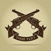 stock photo of pistol  - Vintage Crossed Pistols with Ribbon Silhouette - JPG