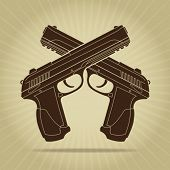 picture of crossed pistols  - Retro Styled Crossed Pistols Silhouette - JPG