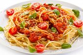 stock photo of spaghetti  - Pasta with meat - JPG
