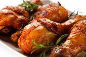 pic of poultry  - Grilled chicken drumsticks and vegetables on white background - JPG