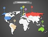 picture of continent  - World map infographic template - JPG