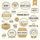 picture of high-quality  - Set of vector golden badges and stickers for sale - JPG