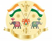 foto of swag  - an illustration of an indian independence design with flags elephants indian flowers and golden swag on a white background - JPG