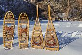 stock photo of collins  - vintage Bear Paw and Huron snowshoes cast shadow in snow - JPG