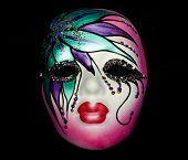 pic of fat lip  - mardi gras sequined colored party mask for fat tuesday - JPG
