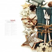 image of christmas meal  - Christmas table place setting with christmas decorations  - JPG