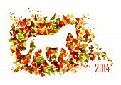 foto of chinese zodiac  - 2014 Chinese New Year of the Horse animal silhouette over triangle background - JPG