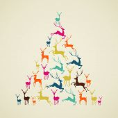 Merry Christmas Reindeer Pine Tree Shape Vector.