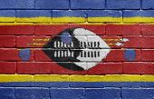 Flag Of Swaziland On Brick Wall