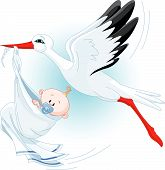 stock photo of baby-boy  - A cartoon vector illustration of a stork delivering a newborn baby boy - JPG