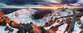 Winter Mountain Panorama Landscape - Sunset, Slovakia