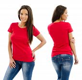 stock photo of red back  - Young beautiful sexy female with blank red shirt front and back - JPG