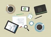 pic of tablet  - Flat design vector illustration concept of modern business meeting coffee break with digital tablet smartphone papers and various office objects - JPG