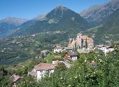 pic of south tyrol  - Village of Schenna with Village of Dorf Tirol in Background - JPG