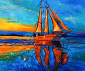 stock photo of acrylic painting  - Original oil painting of sail ship and sea on canvas - JPG