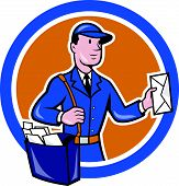 picture of postman  - Illustration of a postman mailman delivery worker delivering parcel delivering letter mail set inside circle shape done in cartoon style - JPG