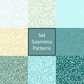 stock photo of plankton  - Set handmade seamless pattern or background with abstract protozoa or abstract plankton - JPG
