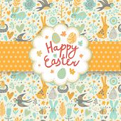 foto of wild-rabbit  - Happy easter card in vector - JPG
