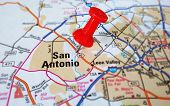 picture of texas map  - Closeup of a San Antonio map with tack - JPG