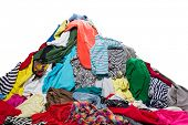 picture of dirty-laundry  - Big heap of colorful clothes - JPG
