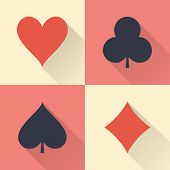 Playing cards suits with long shadows. Flat design icons. Vector illustration