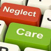 foto of neglect  - Neglect Care Keys Showing Neglecting Or Caring - JPG