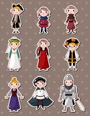 stock photo of courtier  - Cartoon Medieval People Stickers - JPG