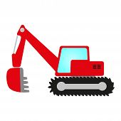 picture of power-shovel  - red crawler excavator with shovel cab and undercarriage - JPG
