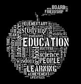 Education word cloud apple shape concept image