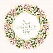 image of dainty  - Greeting card design with a circular floral wreath of dainty fresh pink flowers and blossom surrounding a central cartouche with copyspace for an invitation  wedding or birthday  vector illustration - JPG