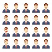 stock photo of greed  - Large set of male emotions including  happiness  delight  anger  sorrow  frustration  love  lust  greed  confusion  argumentative  stupidity  worry  friendliness on a businessman  vector illustration - JPG