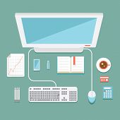 picture of workstation  - Overhead view of an office workstation in flat style with a desktop computer  mouse and keyboard  mobile phone  calculator  usb stick  graphs and a cup of coffee  vector illustration - JPG