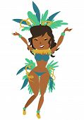 image of brazilian carnival  - cartoon image of a cute brazilian celebrating carnival - JPG