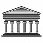 picture of ionic  - Ionic temple isolated on white background  - JPG