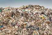 stock photo of landfill  - Hill of diverse domestic garbage in landfill - JPG