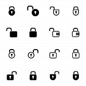 Vector black  lock  icons set