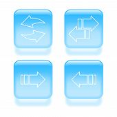 Glassy Arrow Icons. Vector Illustration