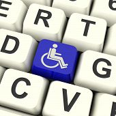 picture of handicapped  - Disabled Key Showing Wheelchair Access Or Handicapped - JPG