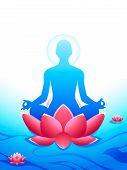 stock photo of samadhi  - Yoga meditation at the sacred lotus sea of heaven - JPG