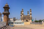image of charminar  - The Historical Charminar and Mecca Masjid at Hyderabad India - JPG