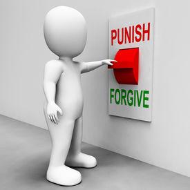 stock photo of punish  - Punish Forgive Switch Showing Punishment or Forgiveness - JPG