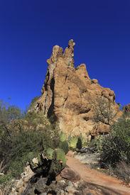 stock photo of magma  - Picturesque Magma ridge rocks in Boyce Thompson Arboretum State Park - JPG