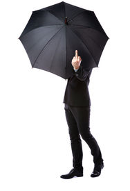 image of fuck  - Business man hidden in umbrella and shows fuck off against white background - JPG