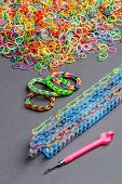 picture of loom  - Colorful of elastic rainbow loom bands and tool - JPG